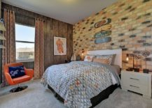 Chic midcentury kids' room with brick wall and a neutral color palette