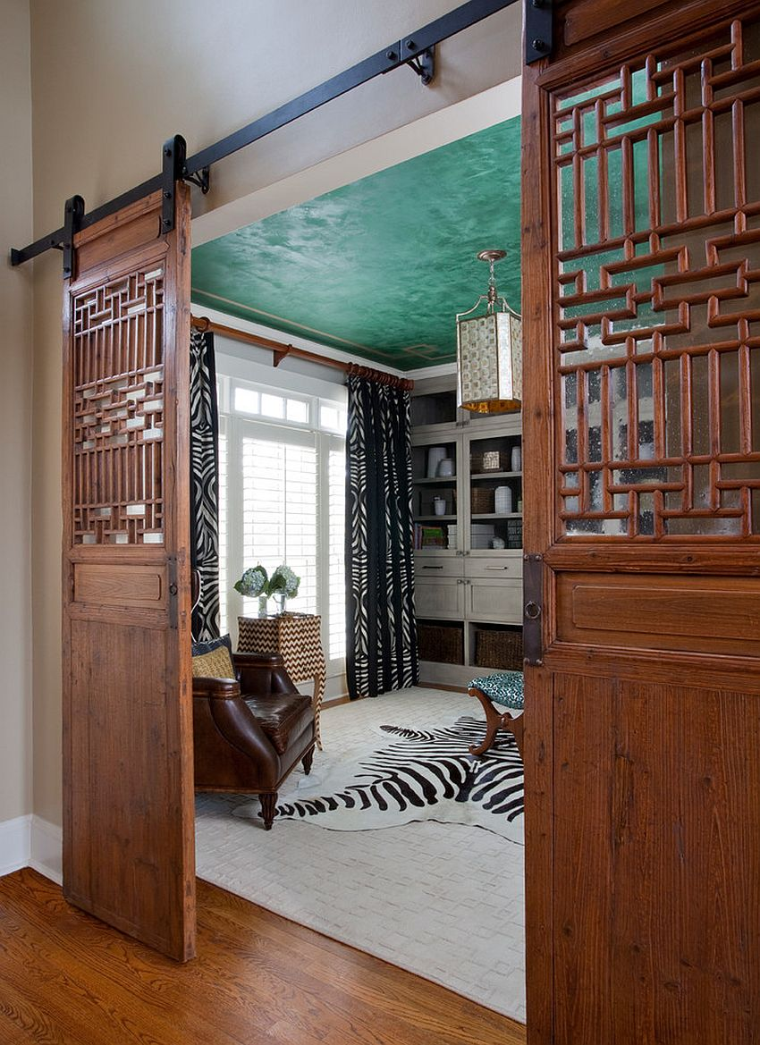 Chinese style added to the barn doors with unique panels [Design: Jennifer Reynolds - Jennifer Reynolds Interiors]