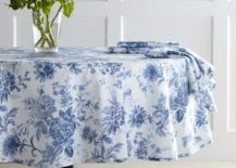 Classic blue and white round tablecloth from Williams Sonoma 217x155 20 Round Tablecloths for Summer Entertaining