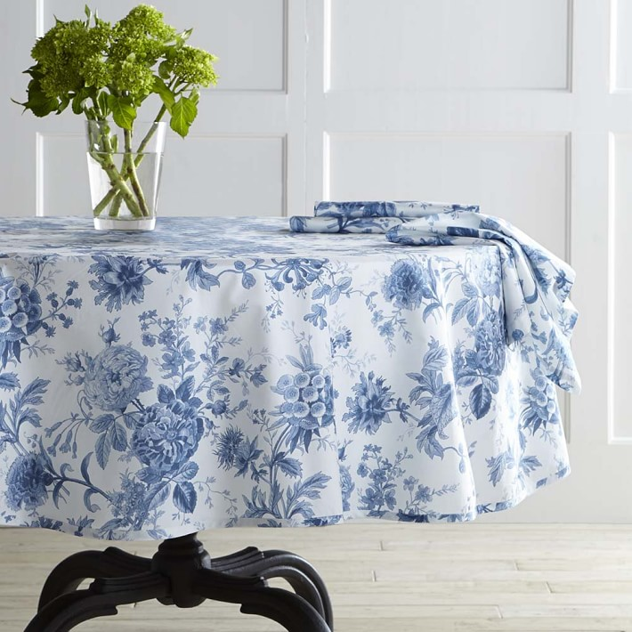 Classic blue and white round tablecloth from Williams-Sonoma