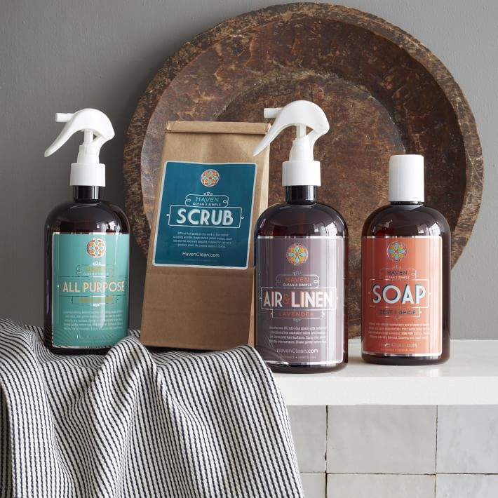 Cleaning supplies from West Elm