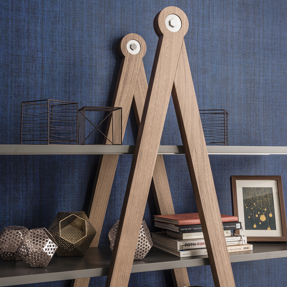Closer look at the Giotto Bookshelf in Canaletto walnut