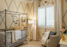 Comforting and mellow shade of yellow creates a warm inviting backdrop in the nursery 217x155 Refreshingly Refined: 20 Nurseries in Yellow and Gray