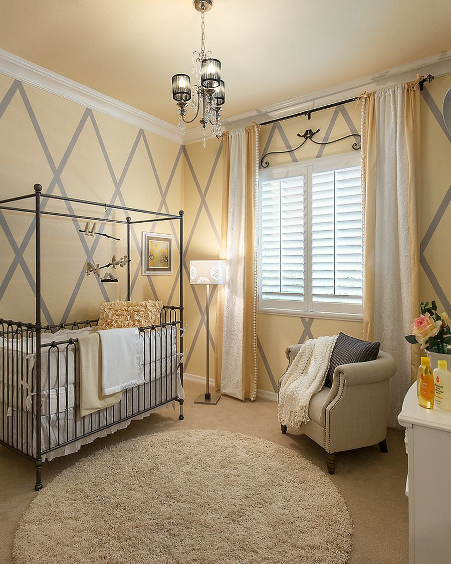 Comforting and mellow shade of yellow creates a warm, inviting backdrop in the nursery [Design: Maracay Homes Design Studio]
