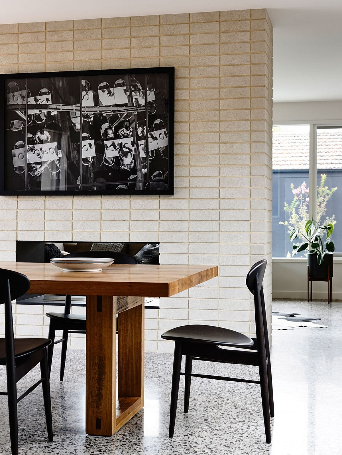 Concrete blocks bring an interesting textural contrast to the living space