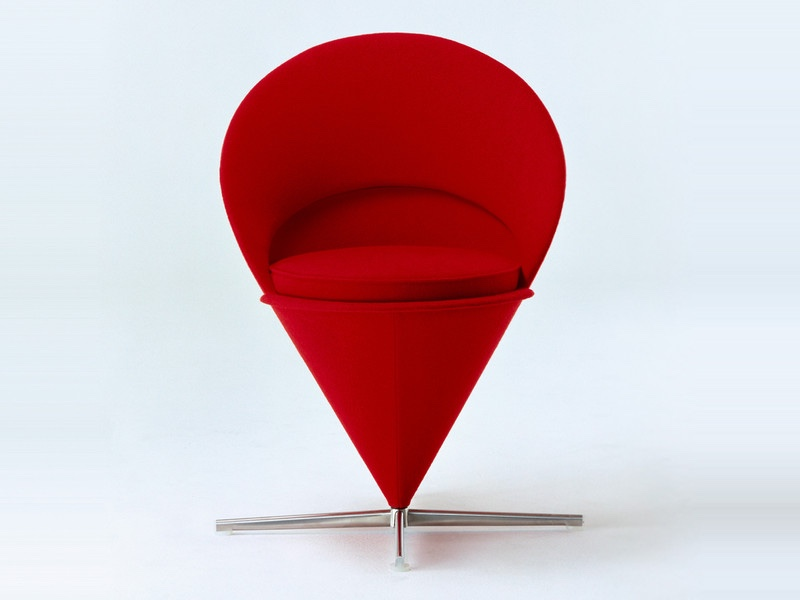 Cone Chair in red fabric.