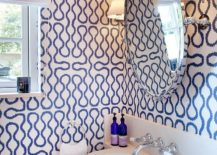 Contemporary bathroom with geometric wallpaper that also has a hint of modernity