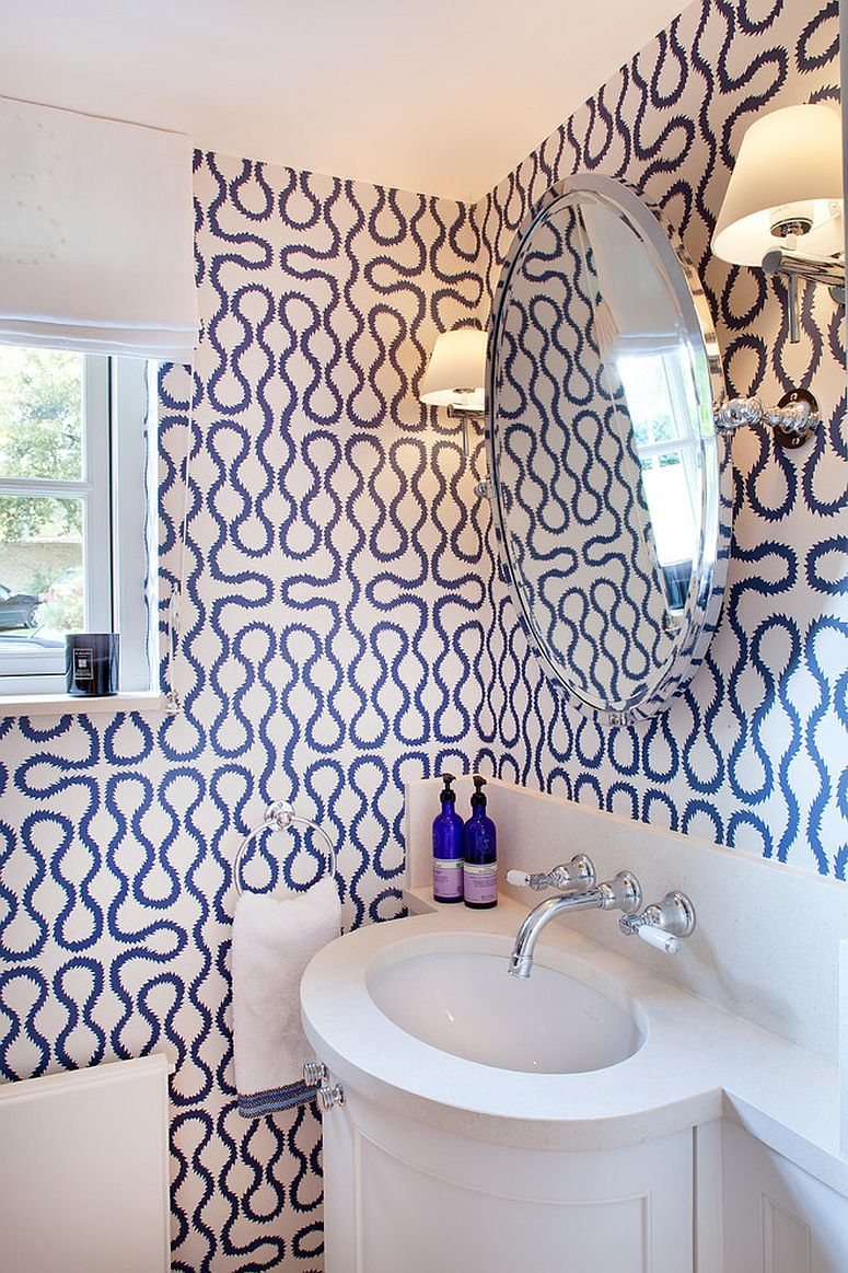 Contemporary bathroom with geometric wallpaper that also has a hint of modernity [Design: Hill Mitchell Berry Architects]