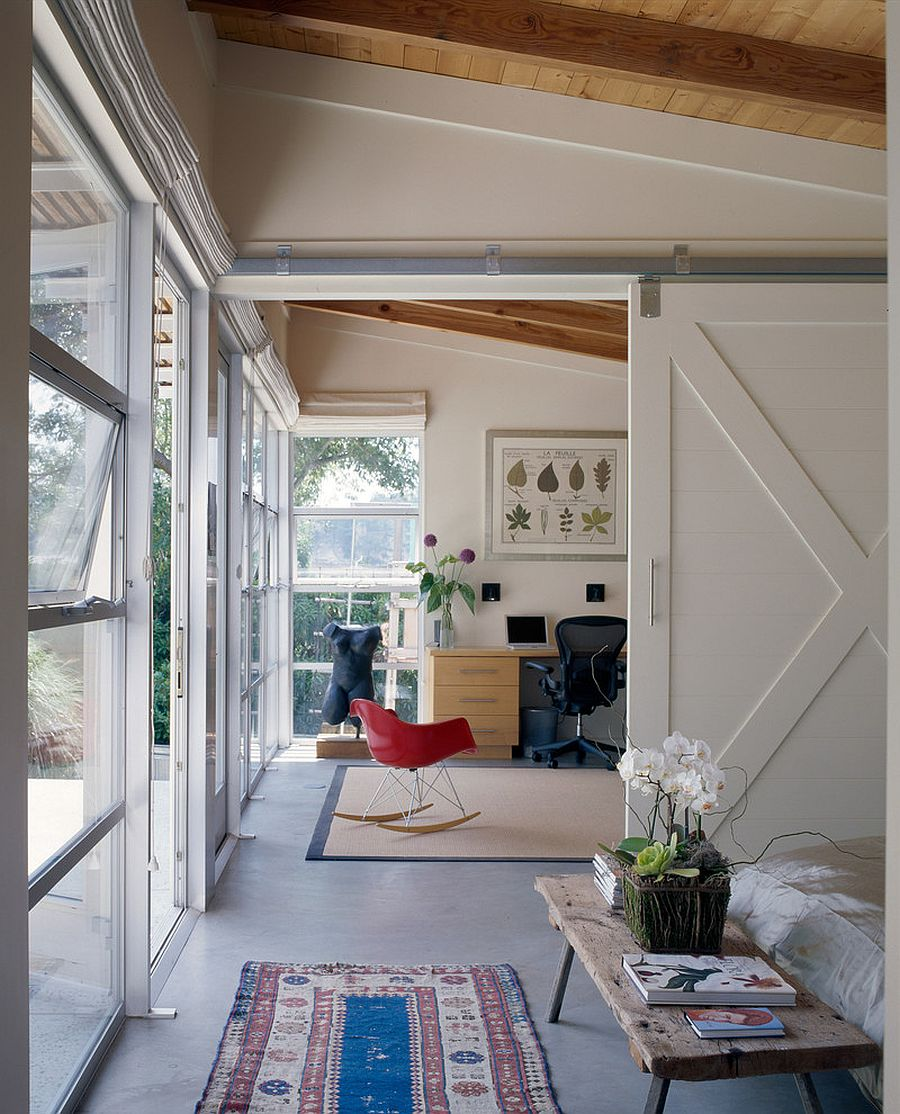Contemporary home office with a sliding barn style door [From: Nick Noyes Architecture / Photography by Ken Gutmaker]