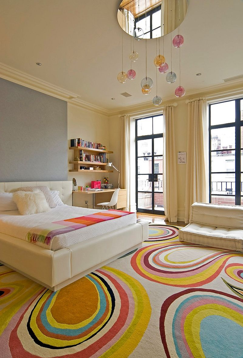 colorful zest  eyecatching rug ideas for kids' rooms -  contemporary kids' bedroom inside new york home with fashionable rugfrom mcquin partnership