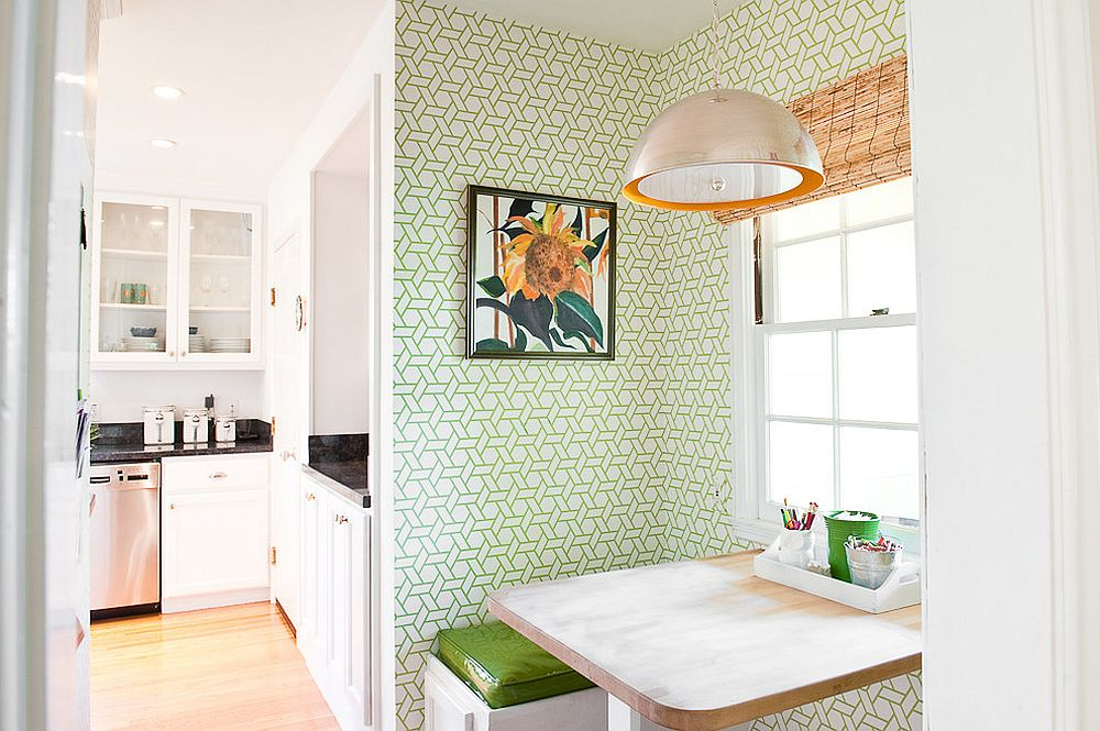 Contemporary kitchen and breakfast nook enlivened with wallpaper [From: Cristin Priest - Simplified Bee]