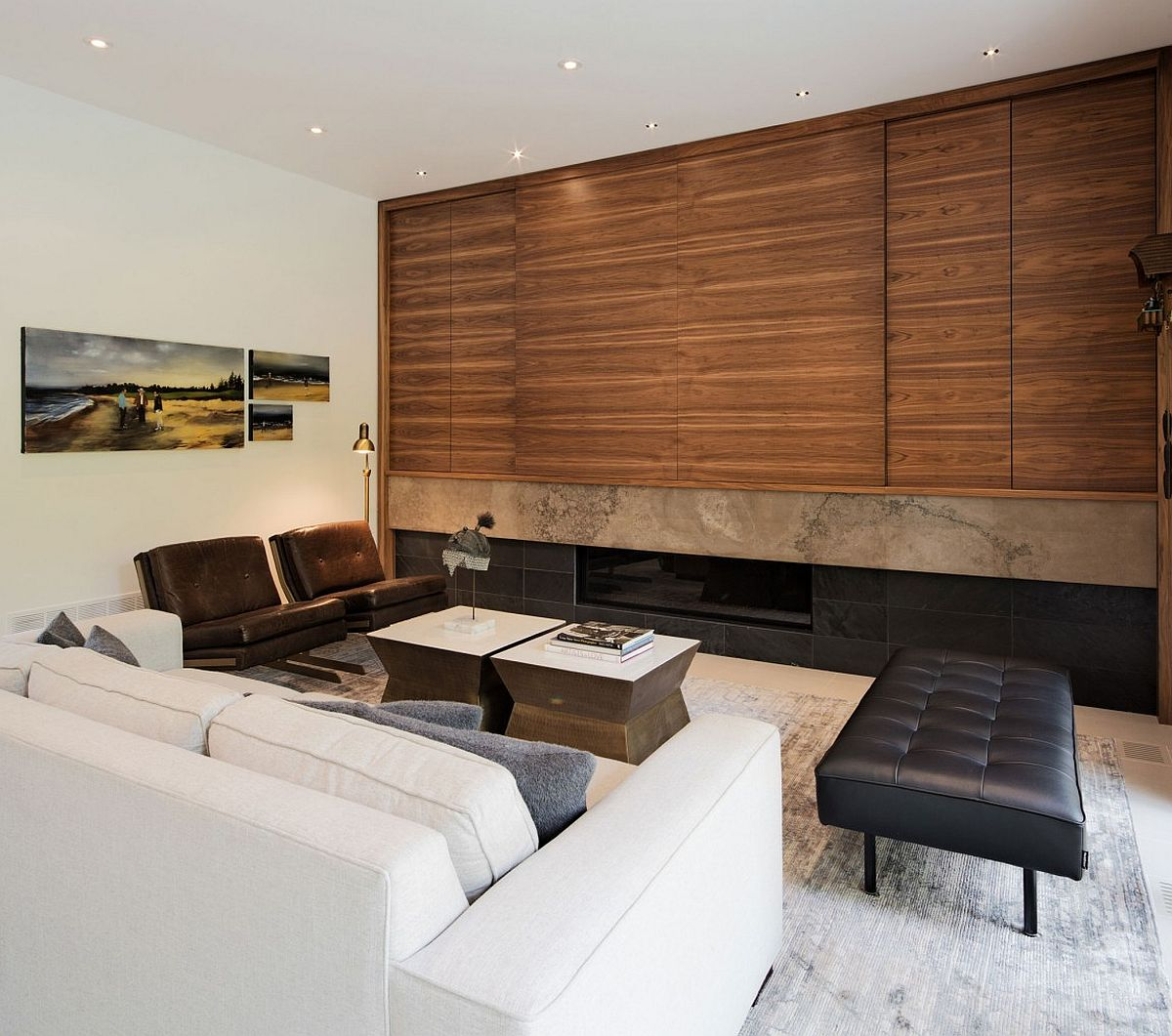 Contemporary living space with comfy decor and wooden shelves