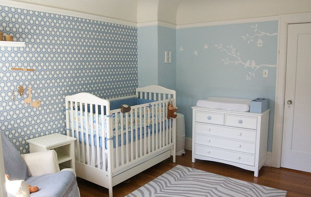 Contemporary nursery with David Hicks geometric wallpaper [Design: Lucy McLintic]