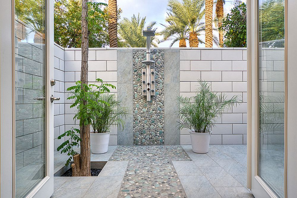 Contemporary outdoor shower is simple and elegant [Design: Allure Designs / Photography: Mike Small Photography]