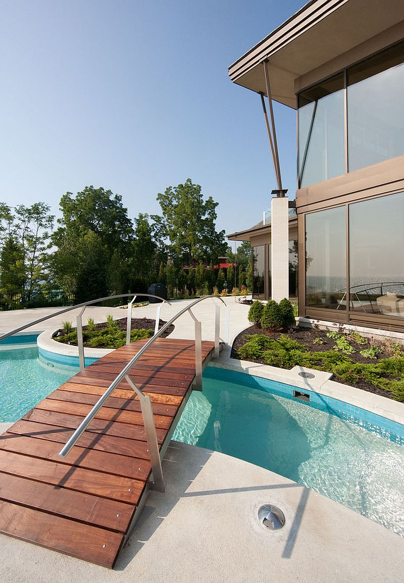 Contemporary pool with a cool wooden bridge [From: Christopher Simmonds Architect / Peter Fritz Photography]