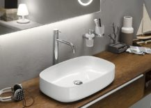 Contemporary sink and floating vanity design by Inda