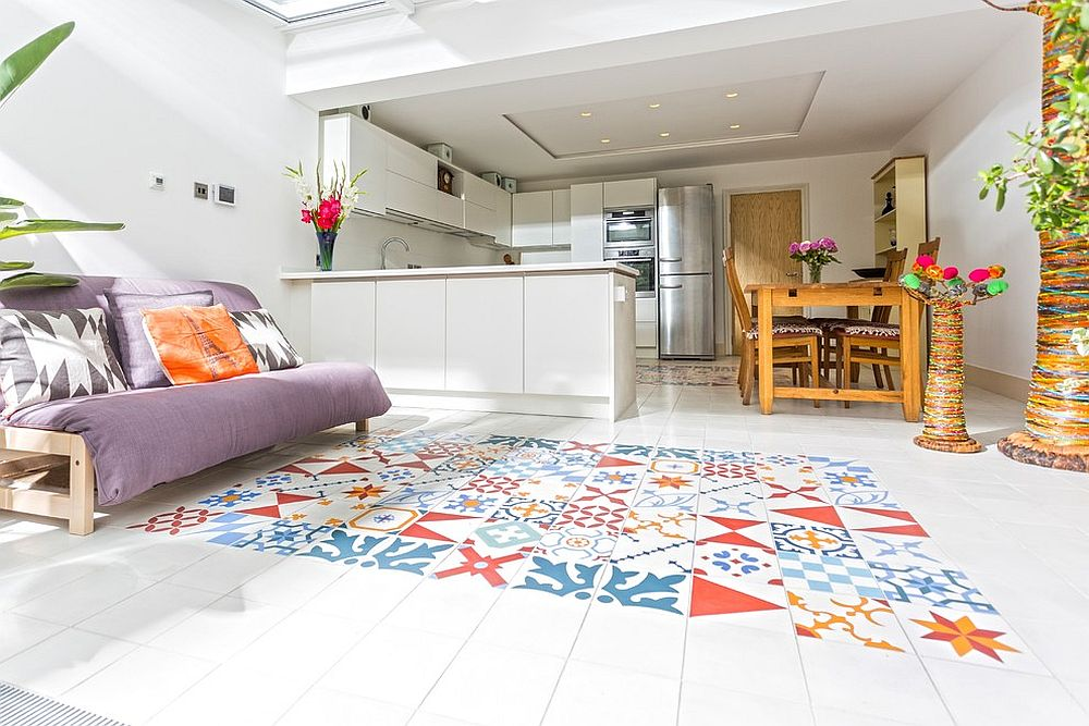 Create a striking and permanent rug of tiles!