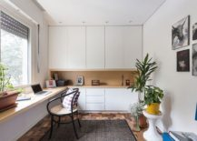 Custom crafted desk for the spacious home office