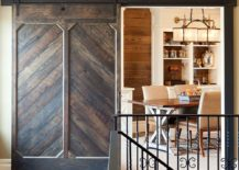 Custom designed barn door for the traditional home workspace and library