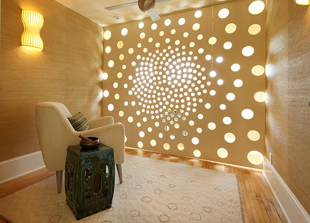 custom screen creates a calm tranquil atmosphere as it filters natural light from - Meditation Room