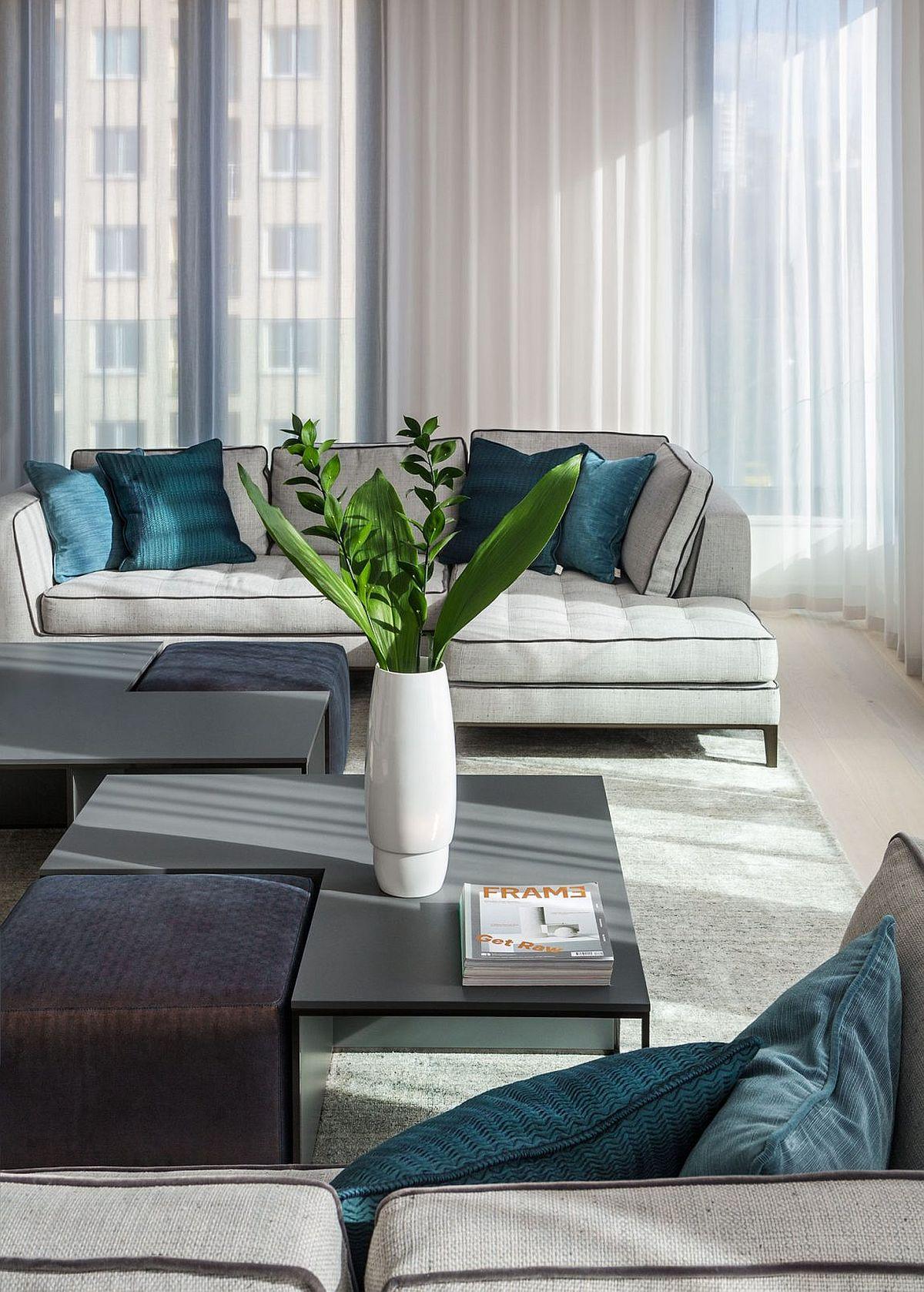 Custom upholstered B + B Italia sofas with velvet and gray piping