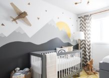Custom wall mural combines just a hint of yellow with shades of gray