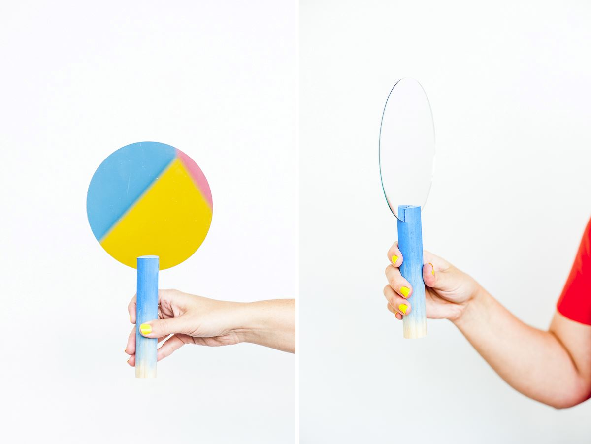 DIY geo hand mirror from Paper & Stitch