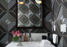 Dashing contemporray powder room with geometric wallpaper from Cowtan and Tout