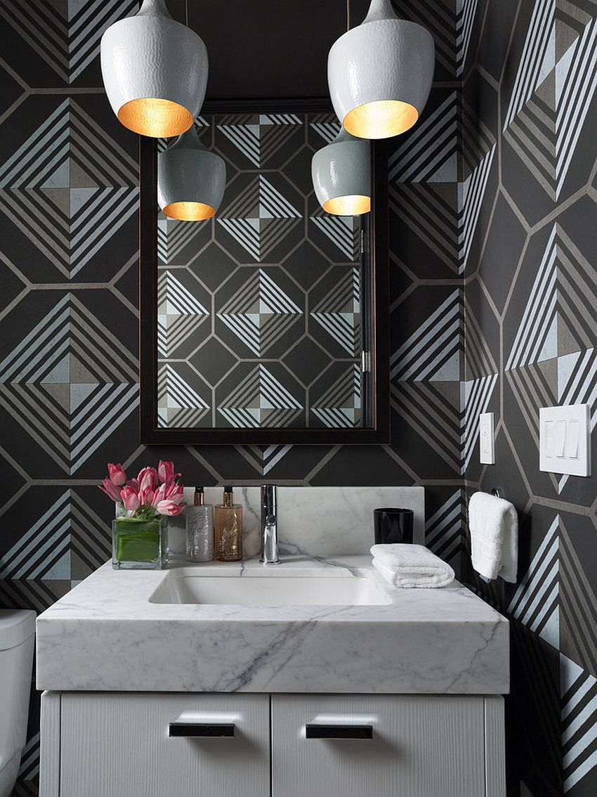 Dashing contemporary powder room with geometric wallpaper from Cowtan and Tout [From: Green Couch Interior Design / David Duncan Livingston]