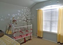 Drapes in yellow can alter the appeal of the neutral nursery space instantly
