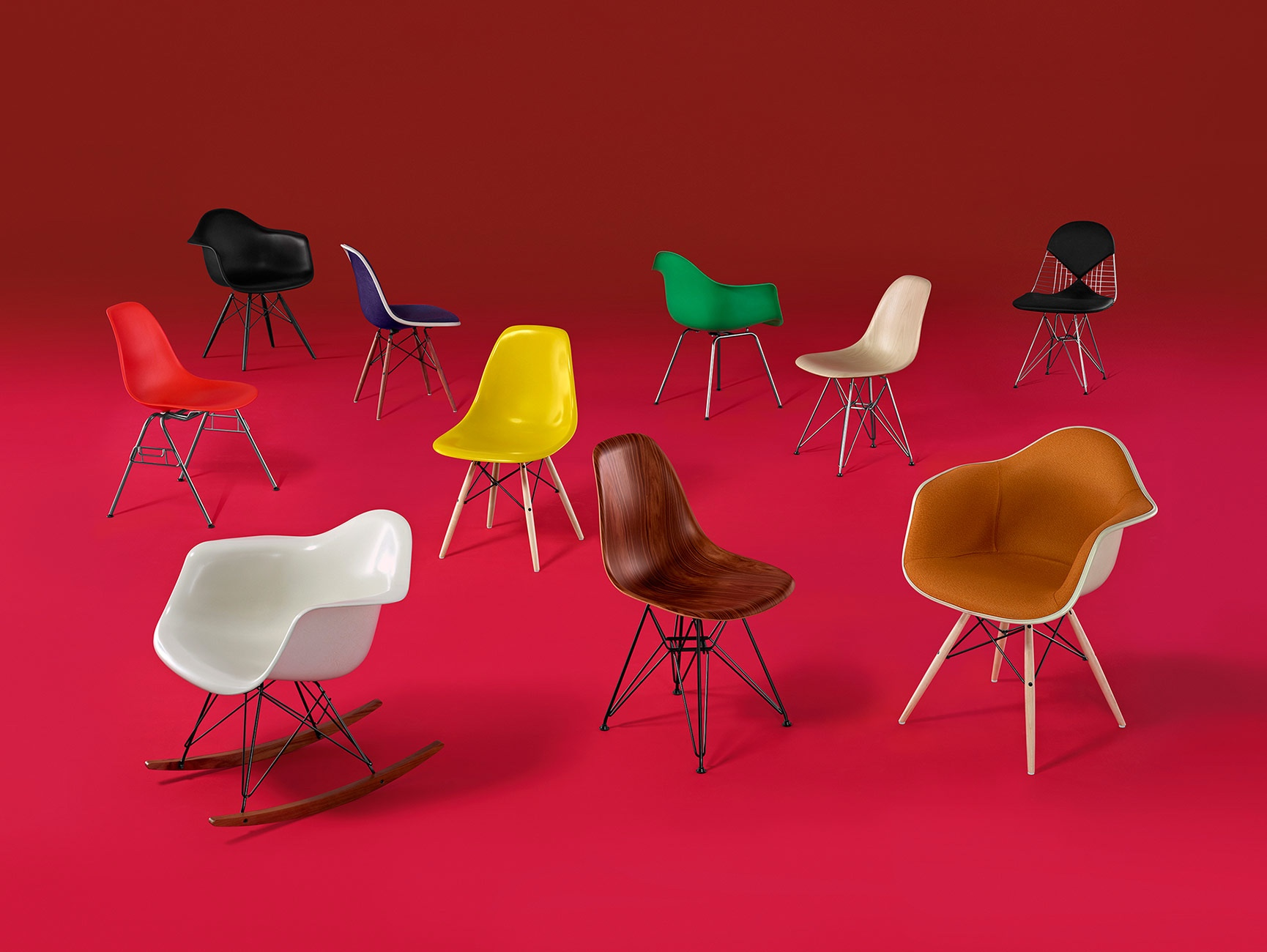 Eames Shell Chair Group. Designed by Charles and Ray Eames. Image © 2016 Herman Miller, Inc.