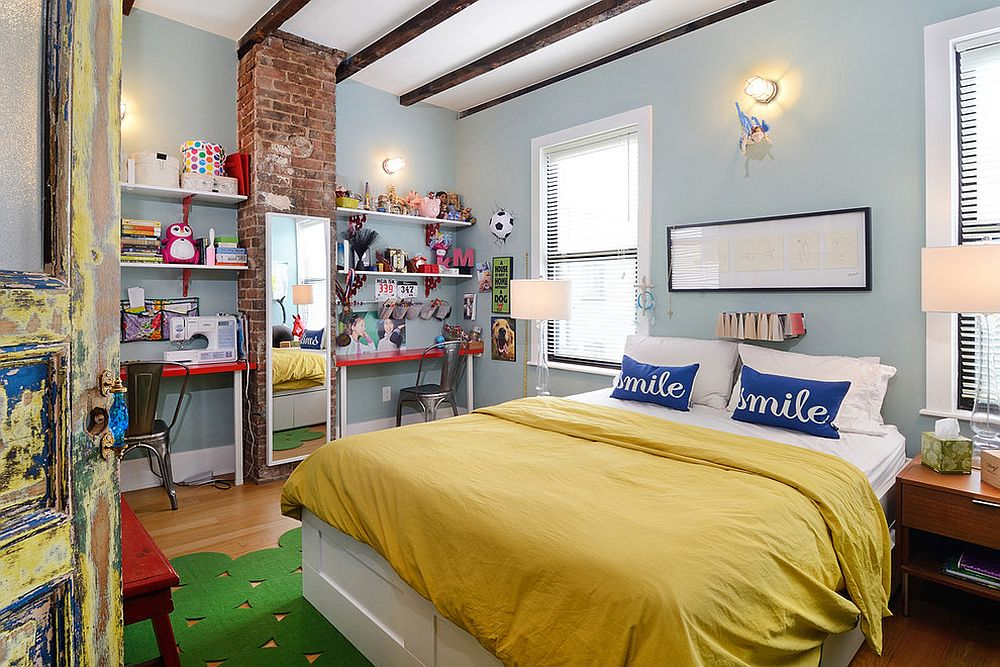 Eclectic kids' room makes smart use of the small section of brick wall [Design: Hudson Place Realty]