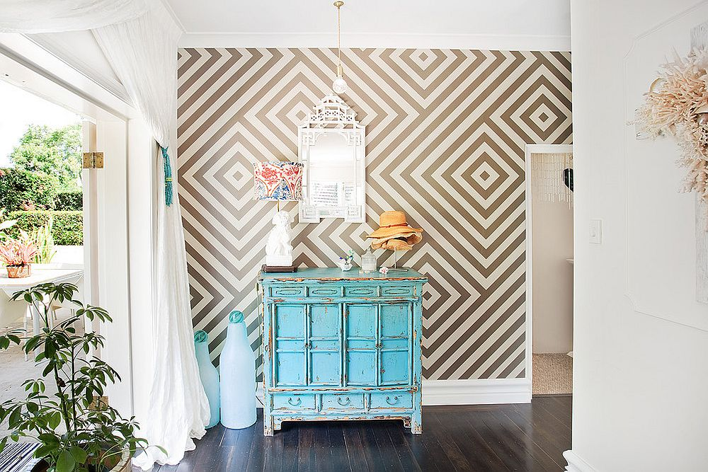 Eclectic with vintage credenza and geometric wallpaper [Design: Touch Interiors]
