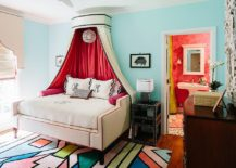 Elegant kids' room with a rug that complements the colors around it beautifully