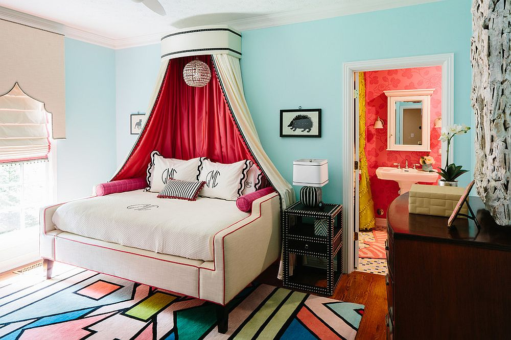 Elegant kids' room with a rug that complements the colors around it beautifully [From: Ben Finch of Finch Photo]