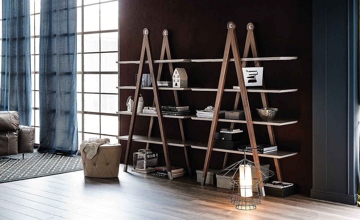 Elegant modern bookshelves also double as lovely displays