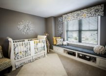 Even the smallest hints of yellow shine through brightly in a nursery with neutral gray backdrop