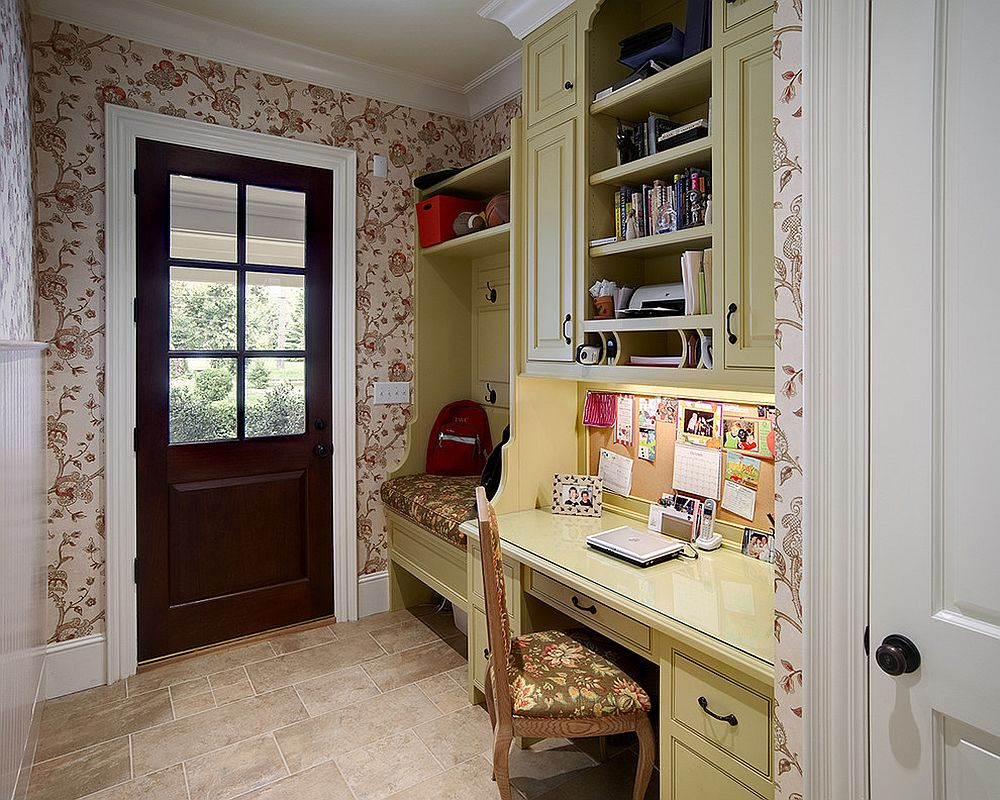 Even the tiniest entry can accommodate both the mudroom and home office [From: John C. Sanders and Company / Dustin Peck Photography]