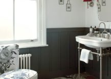 Exquisite bathroom with a modern Victorian style and patchwork tile flooring