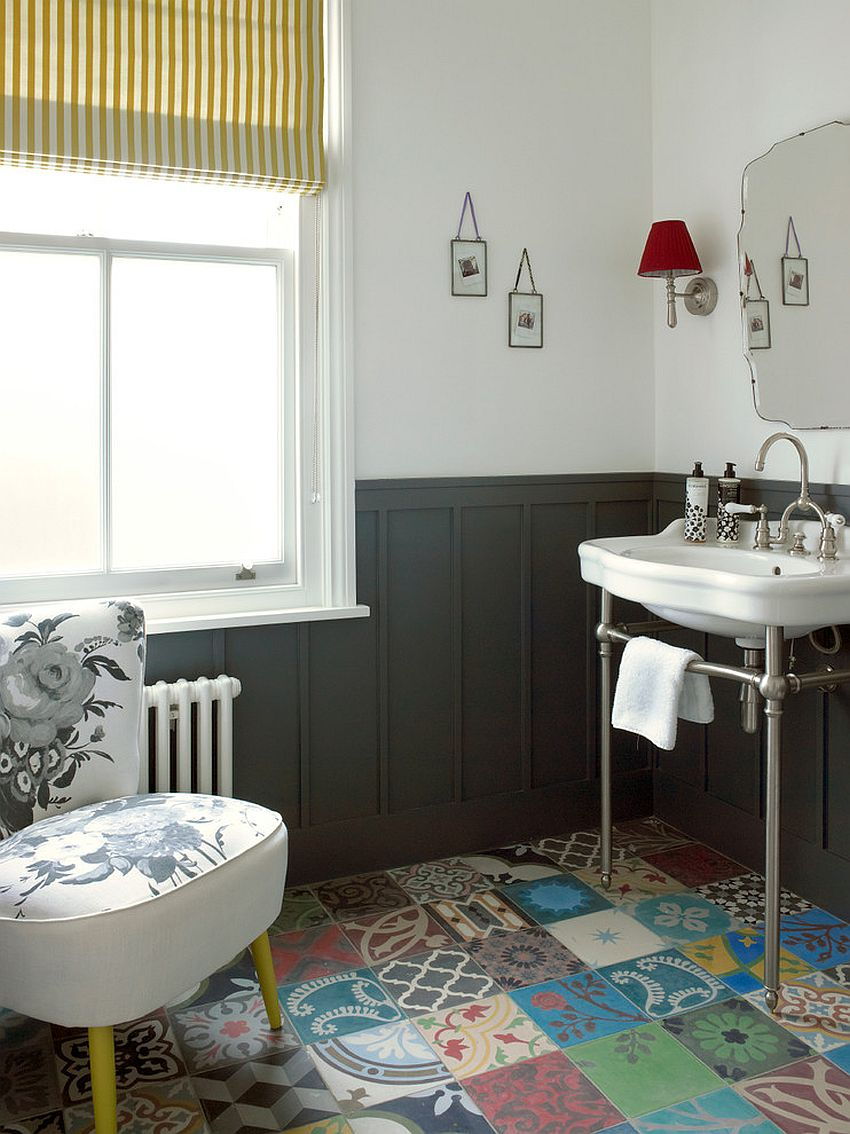 Exquisite bathroom with a modern Victorian style and patchwork tile flooring [Design: Stephen Fletcher Architects]