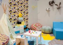 Fabulous geometric wallpaper is perfect for the fun and playful kids' room