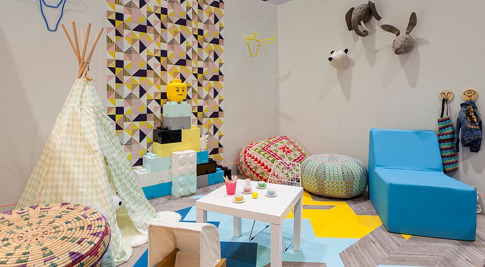 Fabulous geometric wallpaper is perfect for the fun and playful kids' room [From: Chris Snook]