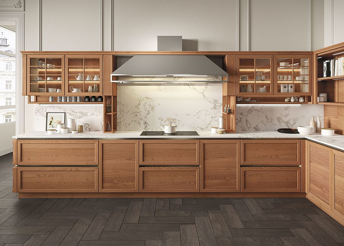 Fabulous kitchen brings wooden warnth to modern interior