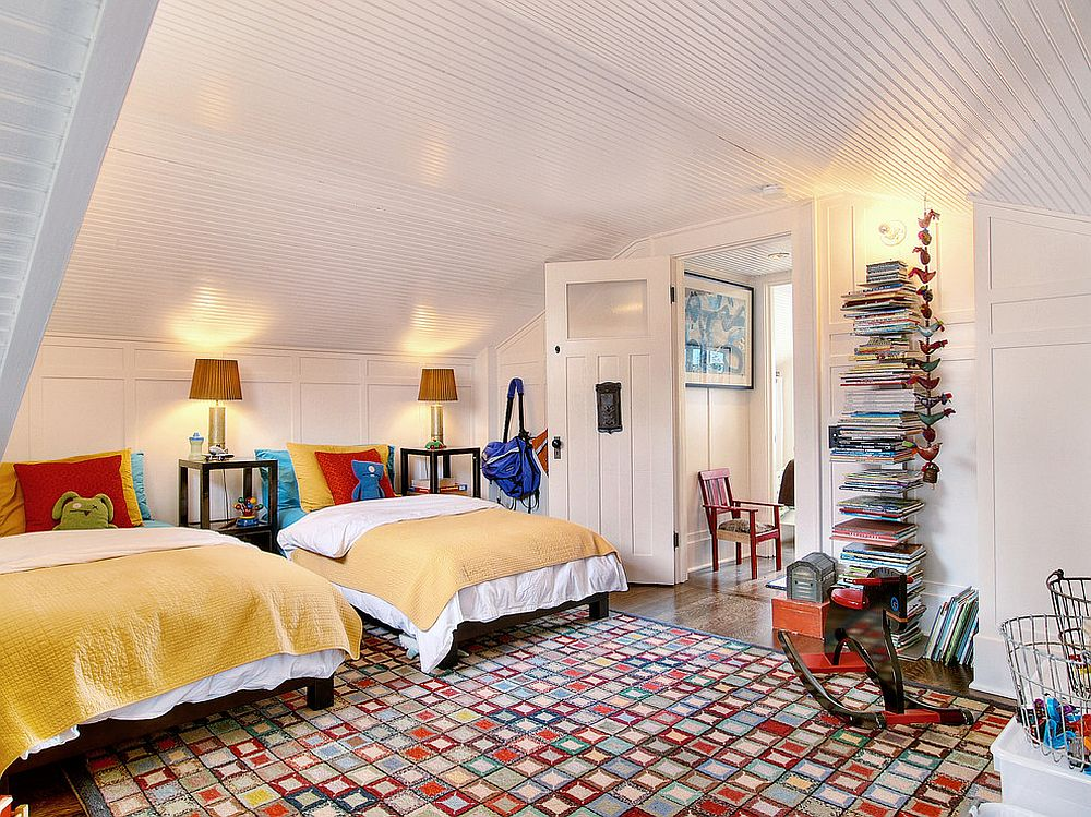 Fabulous rug fills this white, eclectic kids' room with plenty of color without overwhelming it