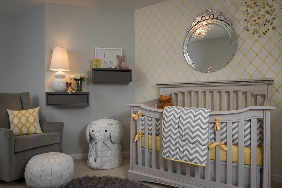 Fabulous wallpaper brings yellow to the gray nursery in style [Design: Samantha Culbreath / Beckwith Interiors / Photography: Chip Pankey]