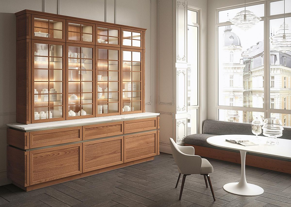 Fabulous wooden sideboard with glass display unit on top