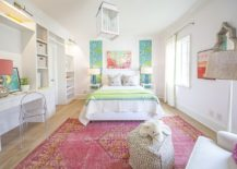 Fashionable rug adds both color and personality to the kids' bedroom with panache
