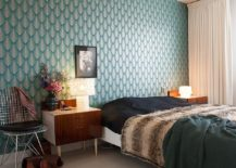 Find the balance between patterned and geometric wallpaper