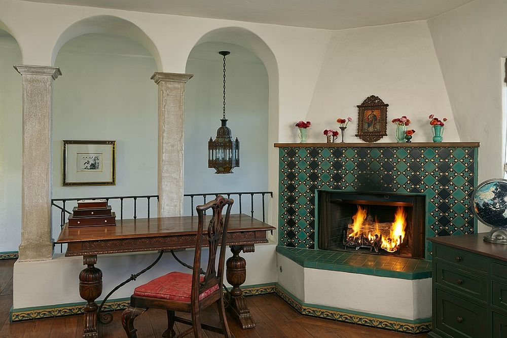 Fireplaces in the corner are not just for large home offices