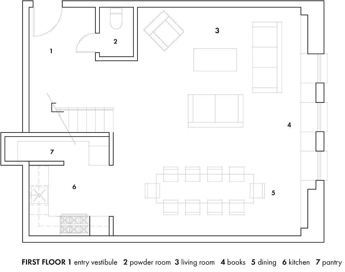 First level floor plan of the Brooklyn Heights Loft by Elizabeth Roberts Architecture